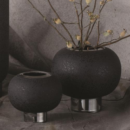 Silver Banded Sphere Vase-Black