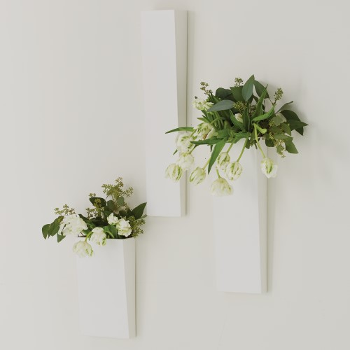 Pyramid Wall Vase-White