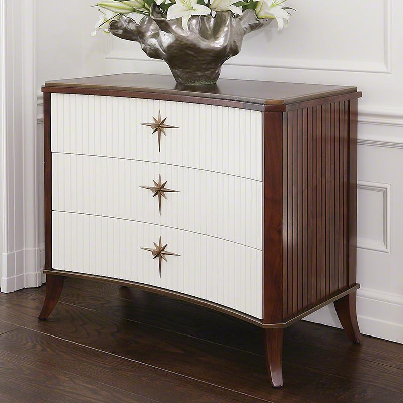 Klismos 3 Drawer Cabinet-Walnut W/White Doors