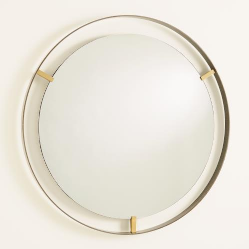 Floating Mirror-Brass Clips-Bronze Rim
