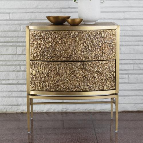 Crinkle Bedside Chest - Brass/Bronze
