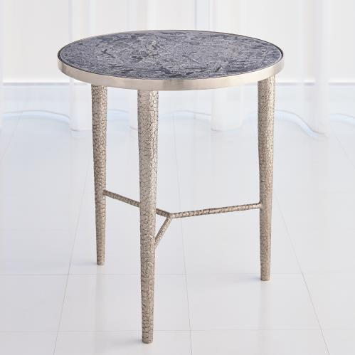 Hammered End Table-Antique Nickel w/Grey Marble