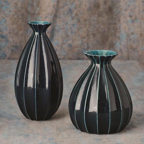 Fluted Cinched Vase-Ink