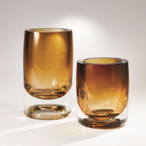 Thick Cylinder Vase-Amber Tobacco