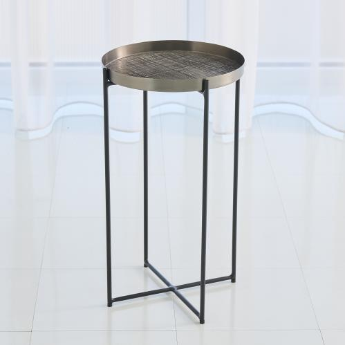 Plaid Etched Accent Table-Black Nickel