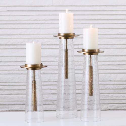 Seeded Glass Pillar Holder-Antique Brass