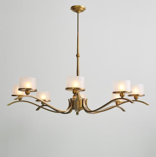 French Curve Chandelier-Light Bronze