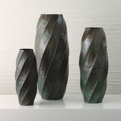 Twisted Vase-Blue Patina