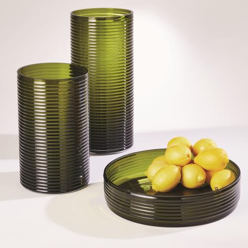 Ribbed Glass-Olive