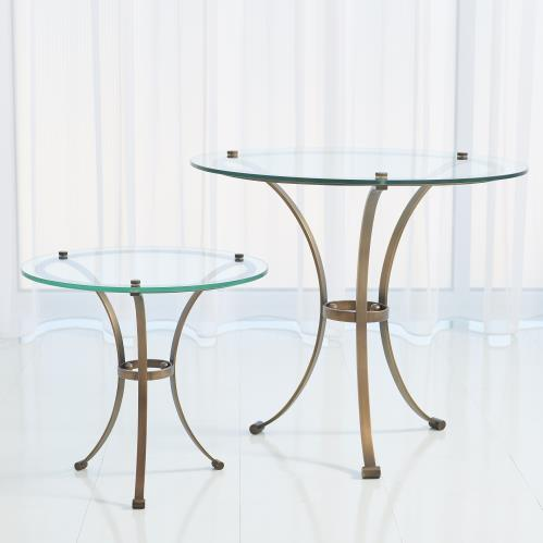 Two Tone Round Table-Light Bronze w/Brass Accents