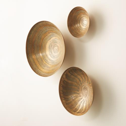 S/3 Sun Etched Wall Bowls-Antique Brass