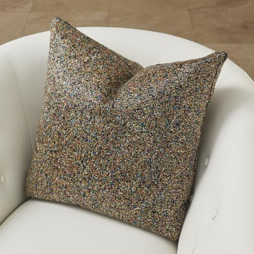 Multi Beaded Pillow-Gold