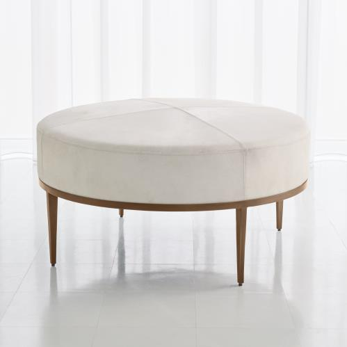 Urban Ottoman w/Ivory Hair-on-Hide-Antique Brass