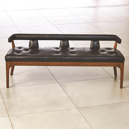 Moderno Bench-Black Marble Leather