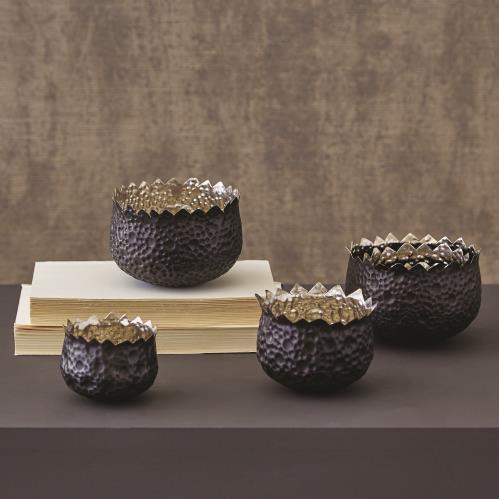 S/3 Bubble Brass Nesting Bowls - Nickel