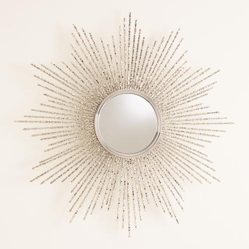 Square Beaded Burst Mirrors - Brass or Nickel