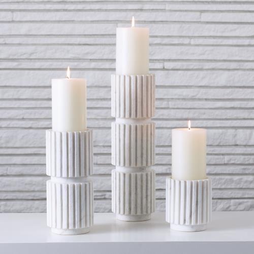 Channel Pillar Holder - White Marble