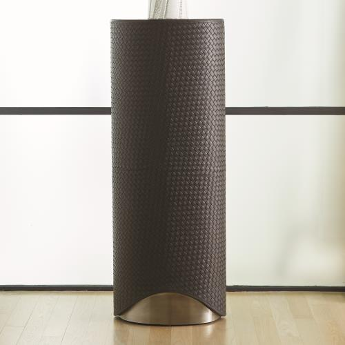 Milan Oval Pedestal - Charcoal Leather