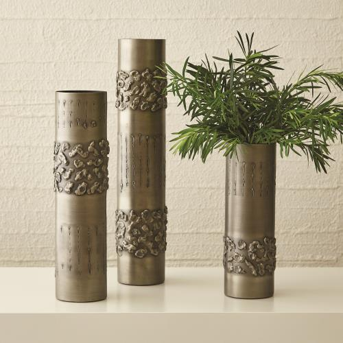 Textural Band Vases - Antique Nickel
