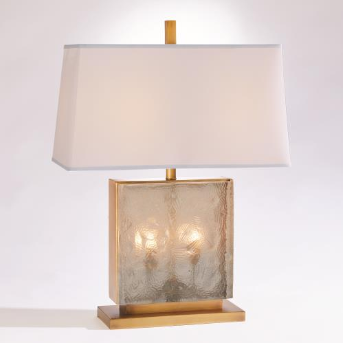 Cube Slab Table Lamp-Antique Brass