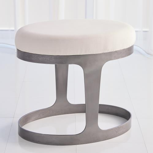 Oslo Stool - Iron - Muslin Cushion