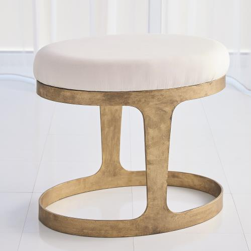 Oslo Stool - Gold - Muslin Cushion