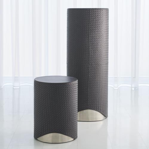 Milan Oval Accent Table - Charcoal Leather