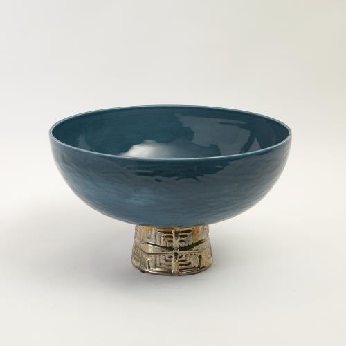 Maze Compote-Cobalt/Antique Gold