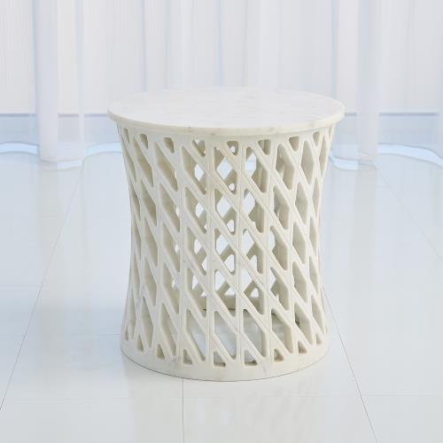 Diamond Fret Table-Banswara White Marble