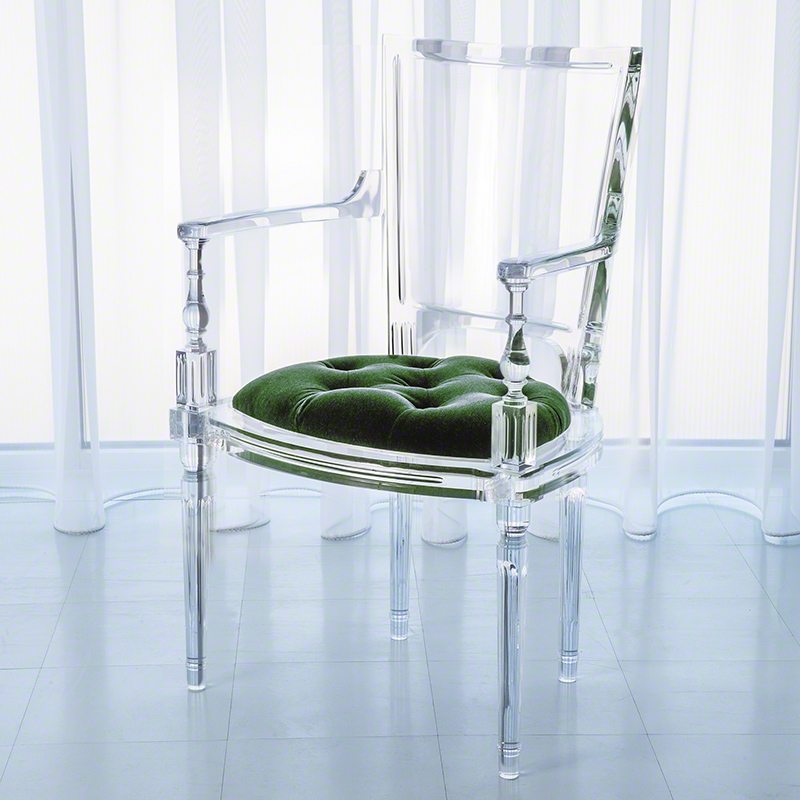 Marilyn Acrylic Arm Chair-Emerald Green