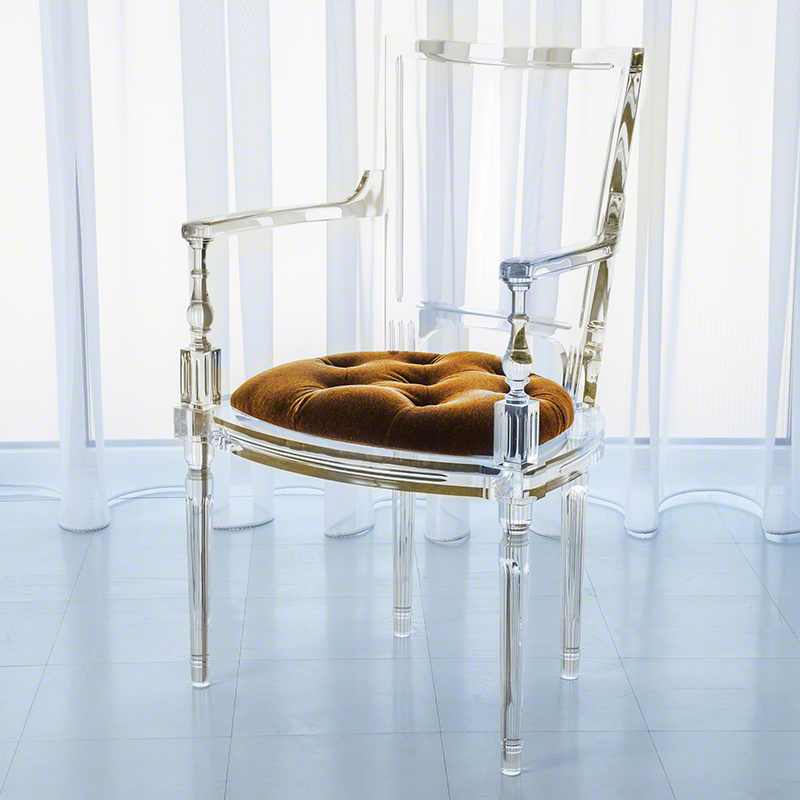 Marilyn Acrylic Arm Chair-Brown Sugar-Gold