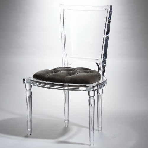 Marilyn Acrylic Side Chair-Pewter-Grey