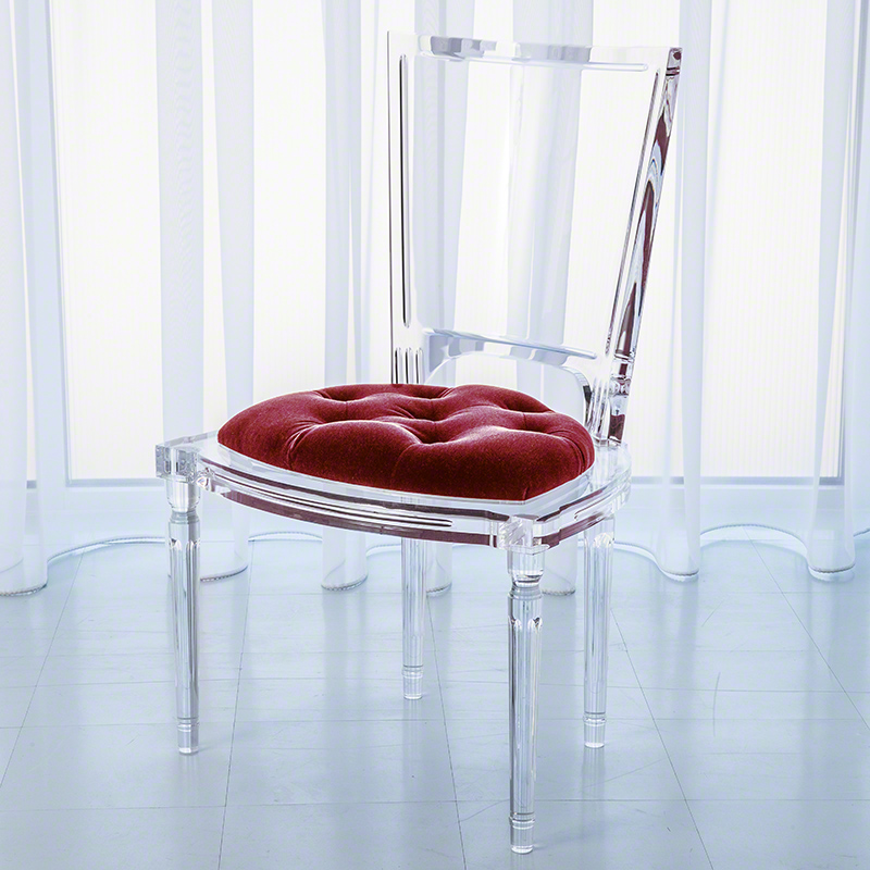 Marilyn Acrylic Side Chair-Red Pepper