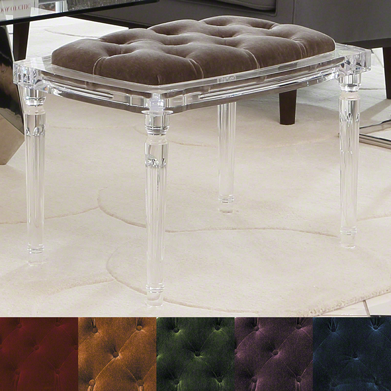 Marilyn Acrylic 4 Leg Bench-Pewter