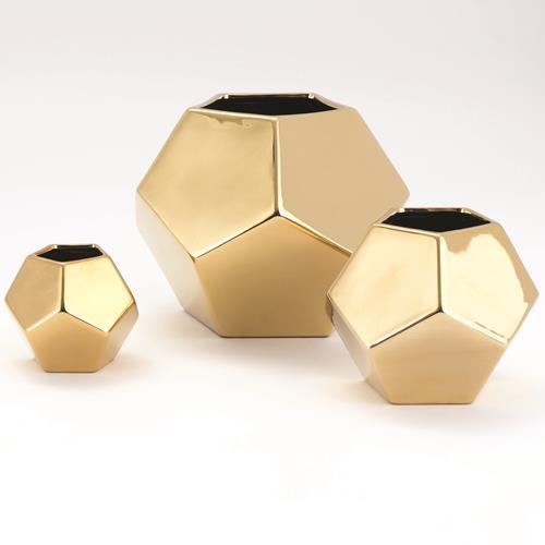 Faceted Vase-Gold