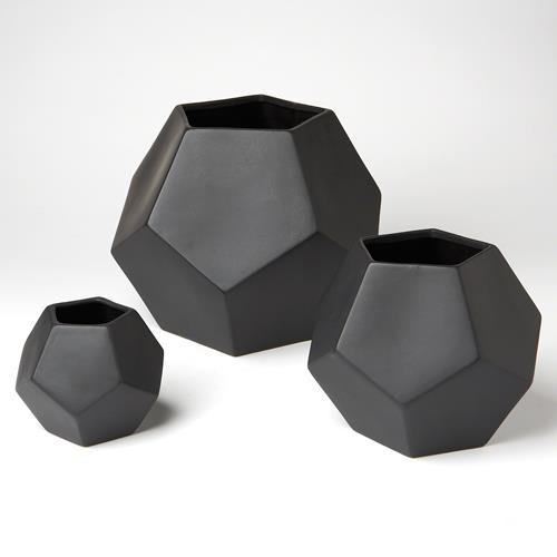 Faceted Vase-Black