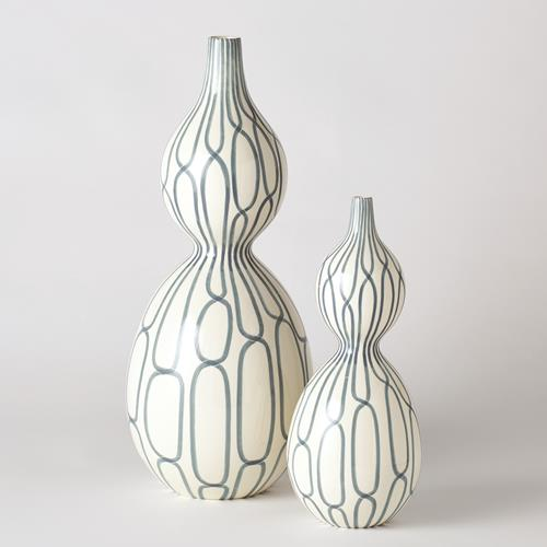 Linking Trellis Double Bulb Vase-Blue