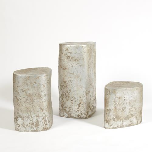 Organic Ceramic Pedestal - Silver Leaf