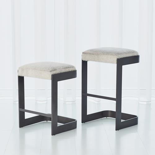 Regan Bar Stool w/Grey Hair-on-Hide-Graphite