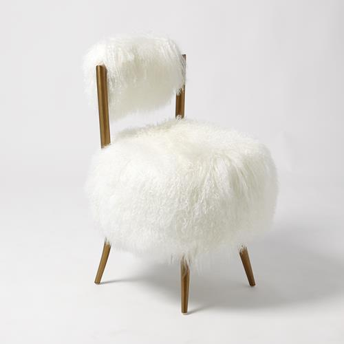 Hailey Chair-Mongolian Lamb-White