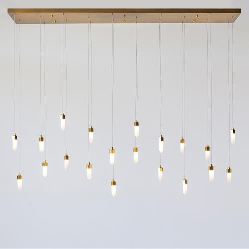 Leo Chandelier-20 Drop Rectangle-Satin Brass