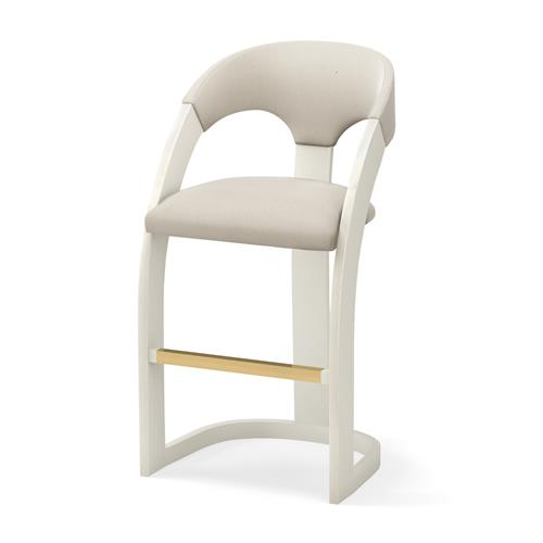 Delia Bar Stool-Antique White-Muslin