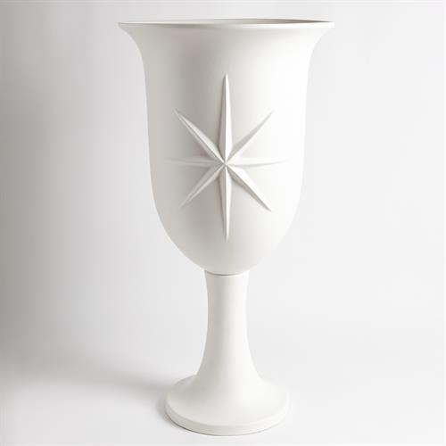 Compass Rose Urn-Matte White
