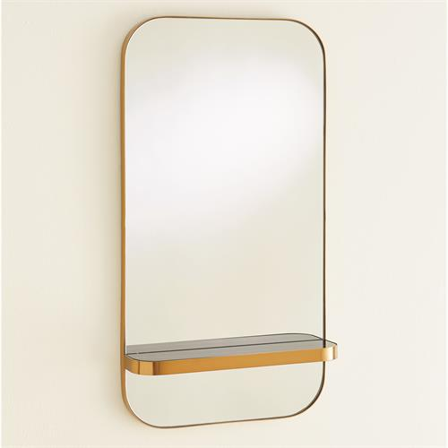 Train Car Mirror-Gold w/Black Marble Shelf