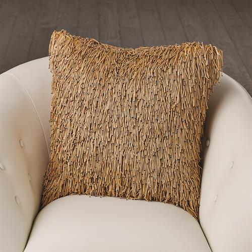 Wooden Fringe Pillow-Tan
