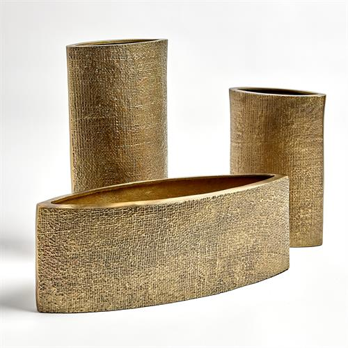 Hemp Etched Vases-Brass