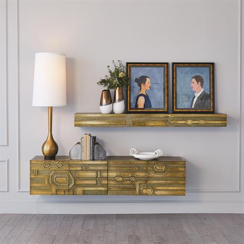 Abstract Block Floating Shelf-Brass