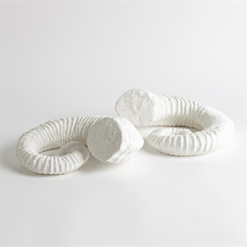 S/2 Ram Horns-Matte White