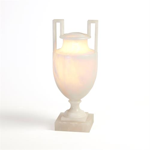 Greek Handle Lighted Alabaster Urn