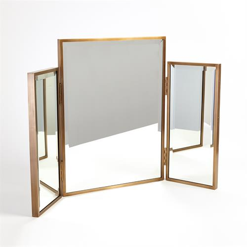 Tri-Fold Vanity Mirror-Antique Brass
